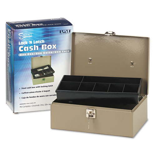 Lock N Latch Steel Cash Box W 7 Compartments Key Lock