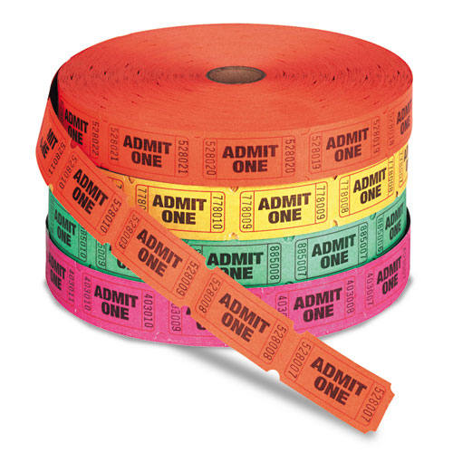 Admit One Single Ticket Roll, Numbered, Assorted, 2000/Roll, 4 Rolls/Pack