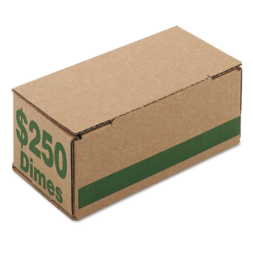 Corrugated Cardboard Coin Storage w/Denomination Printed On Side, Green