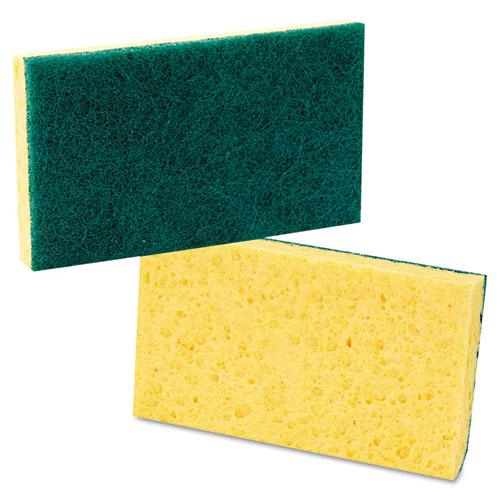 Scrubbing Sponge, Medium Duty, 3.6 x 6.1, 0.75 Thick, Yellow/Green, Individually Wrapped, 20/Carton