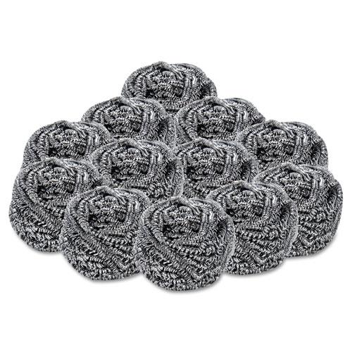 Stainless Steel Scrubber, 2 1/2 x 2 3/4, Steel Gray, 12/Carton