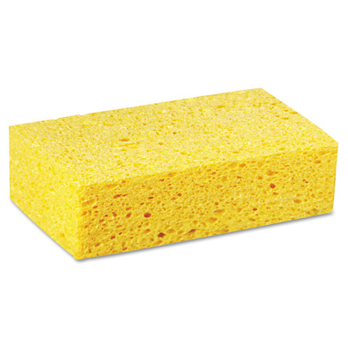 Boardwalk® Large Cellulose Sponge, 4 3/10 x 7 4/5, Yellow, Individually Wrapped, 24/Carton