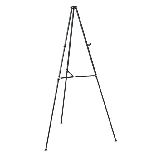 "Lightweight Telescoping Tripod Easel, Adjusts 38"" to 66"" High, Aluminum, Black 