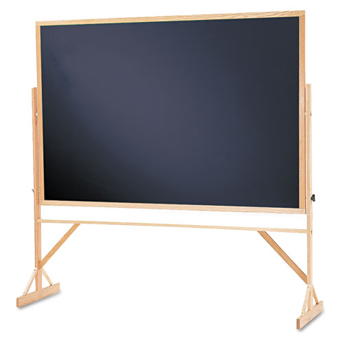 Reversible Chalkboard, 72 x 48, Black Surface, Oak Frame | by Plexsupply