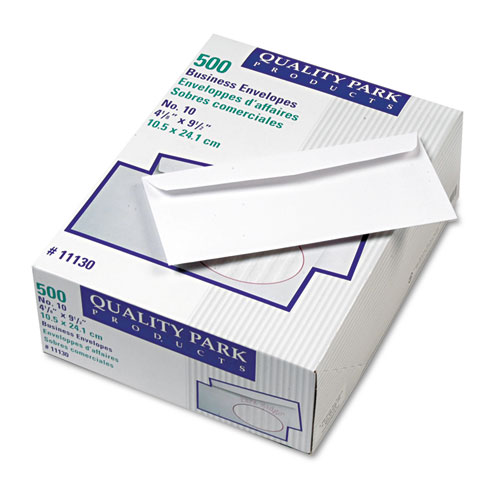 Park Ridge Embossed Executive Envelope, 10, Commercial Flap, Gummed Closure, 4.13 x 9.5, White, 500/Box