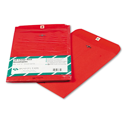 Clasp Envelope, #90, Cheese Blade Flap, Clasp/Gummed Closure, 9 x 12, Red, 10/Pack | by Plexsupply