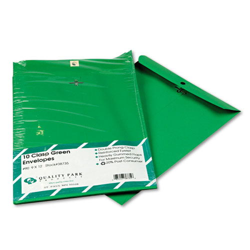 Clasp Envelope, #90, Cheese Blade Flap, Clasp/Gummed Closure, 9 x 12, Green, 10/Pack | by Plexsupply