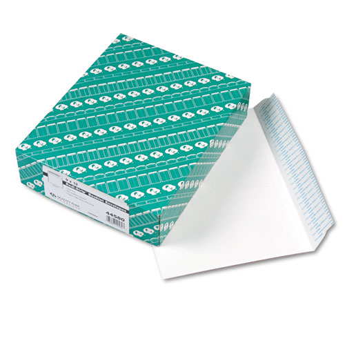 Open-Side Booklet Envelope, #10 1/2, Cheese Blade Flap, Redi-Strip Closure, 9 x 12, White, 100/Box | by Plexsupply
