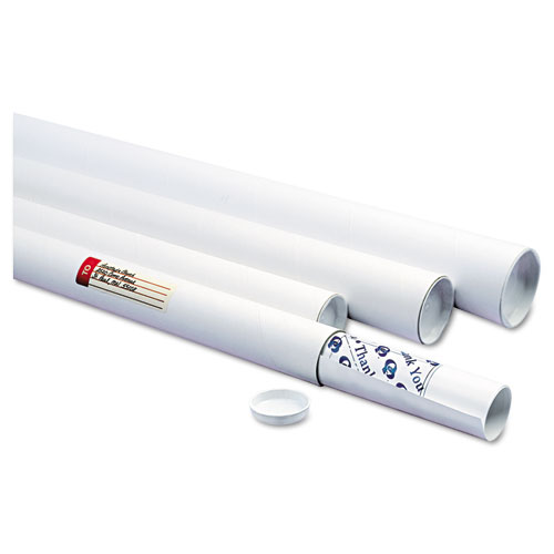 White Mailing Tubes, 24 Long, 2 Diameter, White, 25/Carton