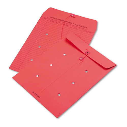 Colored Paper String & Button Interoffice Envelope, #97, One-Sided Five-Column Format, 10 x 13, Red, 100/Box | by Plexsupply