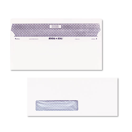 Reveal-N-Seal Envelope, #10, Commercial Flap, Self-Adhesive Closure, 4.13 x 9.5, White, 500/Box | by Plexsupply