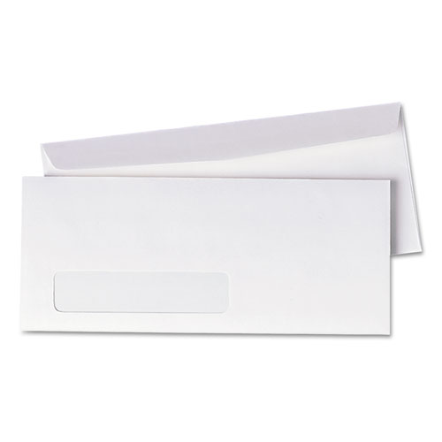 Window Envelope, #10, Commercial Flap, Gummed Closure, 4.13 x 9.5, White, 500/Box | by Plexsupply