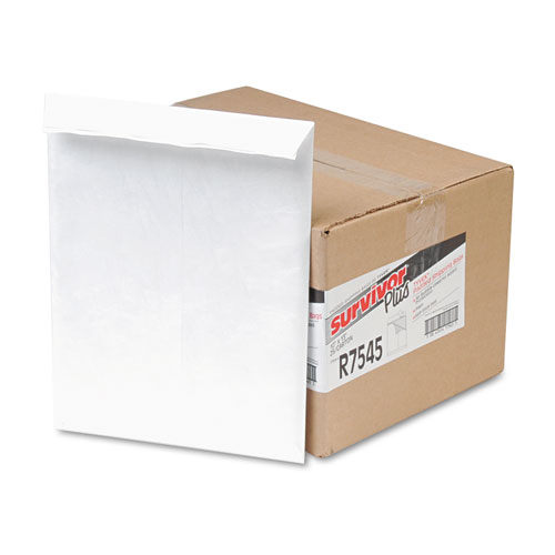 Bubble Mailer, DuPont Tyvek, #13 1/2, Square Flap, Self-Adhesive Closure, 10 x 13, White, 25/Box | by Plexsupply