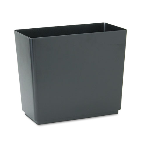 Rubbermaid® Commercial Designer 2 Wastebasket, Rectangular, Plastic, 6.5 gal, Black, 6/Carton