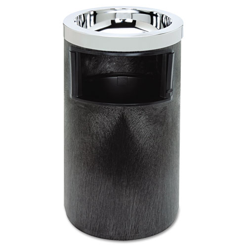 Rubbermaid® Commercial Smoking Urn w/Ashtray and Metal Liner, 19.5H x 12.5 dia, Black