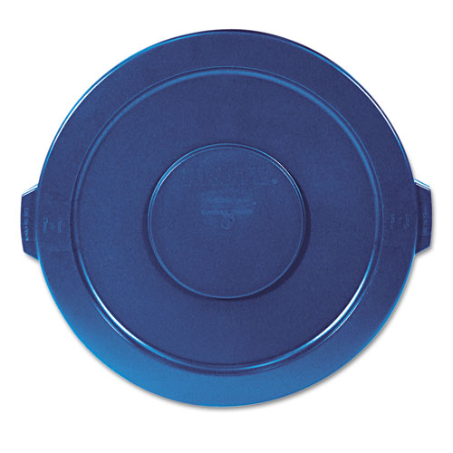 """Rubbermaid® Commercial Round Flat Top Lid, for 32 gal Round BRUTE Containers, 22.25"""" diameter, Blue"""