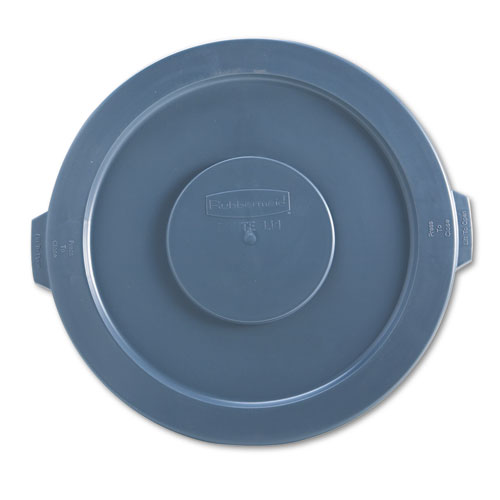 "Rubbermaid® Commercial Flat Top Lid for 20 gal Round BRUTE Containers, 19.88"" diameter, Gray"
