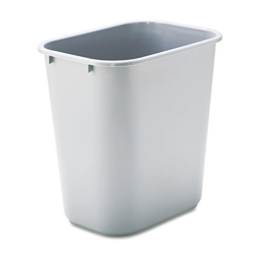 Deskside Plastic Wastebasket, Rectangular, 7 gal, Gray | by Plexsupply