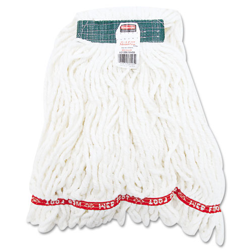 Web Foot Shrinkless Looped-End Wet Mop Head, Cotton/Synthetic, Medium, White | by Plexsupply