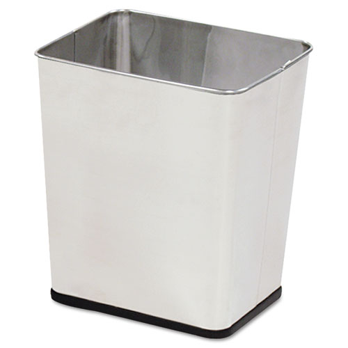 Rubbermaid® Commercial Wastebasket, Rectangular, Steel, 7.25gal, Stainless Steel