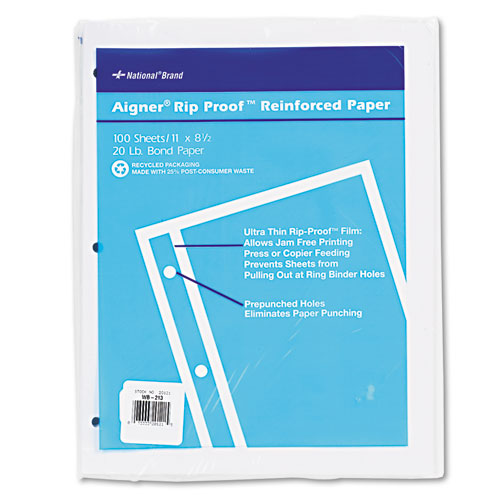 National® Rip Proof Reinforced Filler Paper, 3-Hole, 8.5 x 11, Unruled, 100/Pack