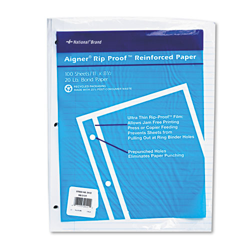 Rip Proof Reinforced Filler Paper, 3-Hole, 8.5 x 11, Narrow Rule, 100/Pack