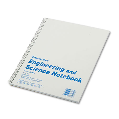 Engineering and Science Notebook, 10 sq/in Quadrille Rule, 11 x 8.5, White, 60 Sheets | by Plexsupply