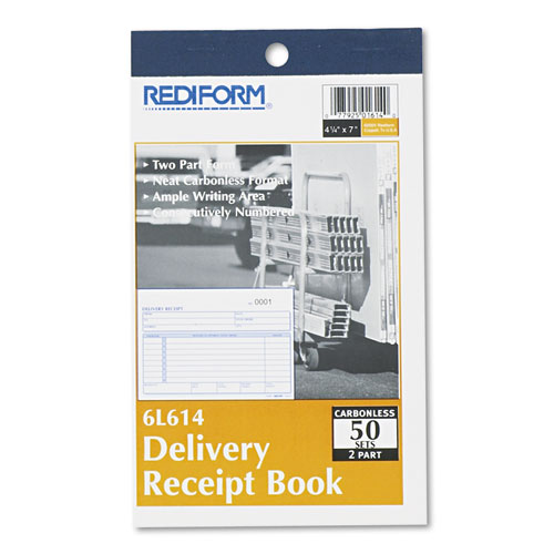 Delivery Receipt Book, 6 3/8 x 4 1/4, Two-Part Carbonless, 50 Sets/Book | by Plexsupply