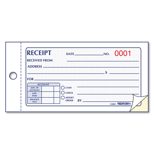 Small Money Receipt Book, 5 x 2 3/4, Carbonless Duplicate, 50 Sets/Book | by Plexsupply