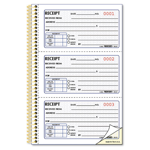 Money Receipt Book, 5 x 2 3/4, Two-Part Carbonless, 225 Sets/Book | by Plexsupply