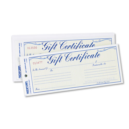 Gift Certificates w/Envelopes, 8-1/2w x 3-2/3h, Blue/Gold, 25/Pack | by Plexsupply