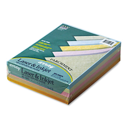 Array Colored Bond Paper, 24lb, 8.5 x 11, Assorted Parchment Colors, 500/Ream | by Plexsupply