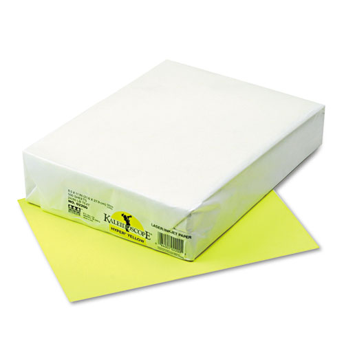 Kaleidoscope Multipurpose Colored Paper, 24lb, 8.5 x 11, Hyper Yellow, 500/Ream | by Plexsupply