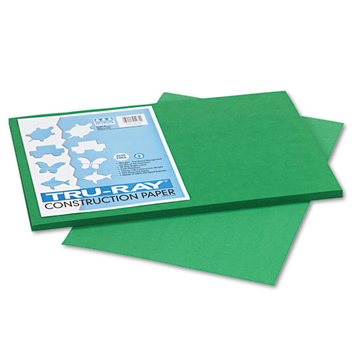Tru-Ray Construction Paper, 76lb, 12 x 18, Holiday Green, 50/Pack | by Plexsupply