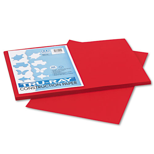 Tru-Ray Construction Paper, 76lb, 12 x 18, Holiday Red, 50/Pack | by Plexsupply