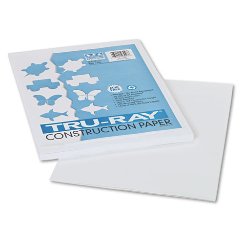Tru-Ray Construction Paper, 76lb, 9 x 12, White, 50/Pack | by Plexsupply