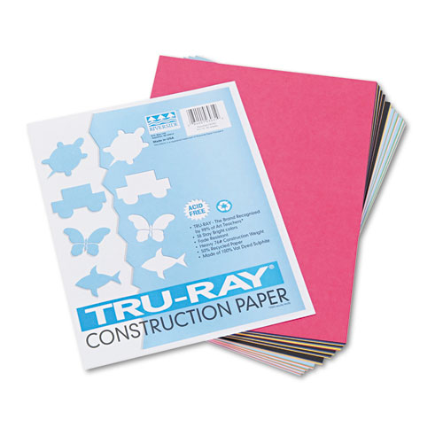 Tru-Ray Construction Paper, 76lb, 9 x 12, Assorted Standard Colors, 50/Pack | by Plexsupply