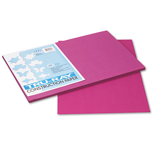 Tru-Ray Construction Paper, 76lb, 12 x 18, Magenta, 50/Pack | by Plexsupply
