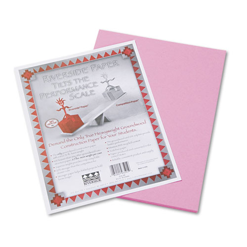 Riverside Construction Paper, 76lb, 9 x 12, Pink, 50/Pack | by Plexsupply
