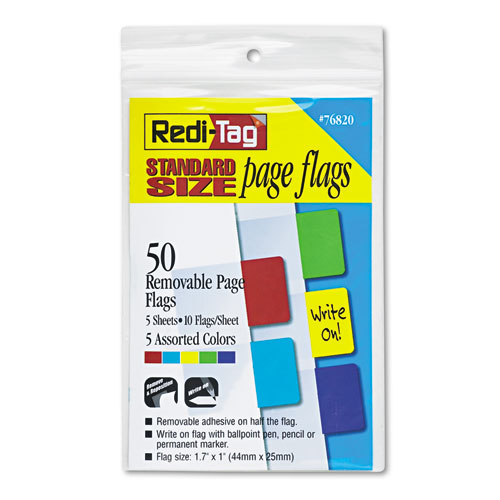 Redi Tag Removable Page Flags Red Blue Green Yellow Purple 10 Color 50 Pack