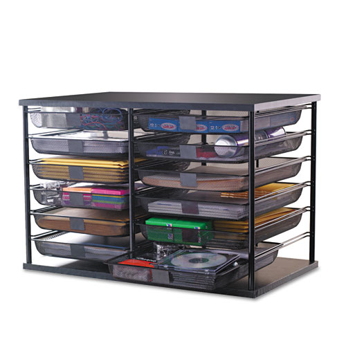 "Rubbermaid® 12-Compartment Organizer with Mesh Drawers, 23 4/5"" x 15 9/10"" x 15 2/5"", Black"