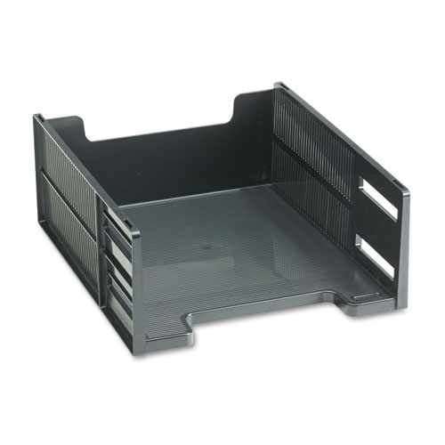 High-Capacity Stackable Front Load Desk Trays, 1 Section, Letter Size Files, 8.5 x 11 x 5, Black