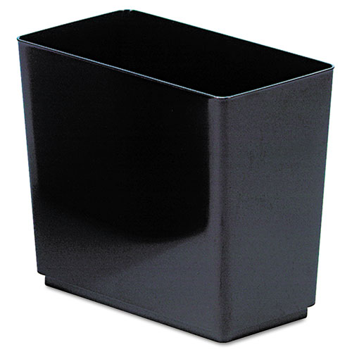 Rubbermaid® Commercial Designer 2 Wastebasket, Rectangular, Plastic, 6.5gal, Black
