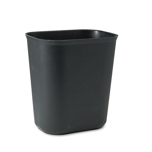 Rubbermaid® Commercial Fire-Resistant Wastebasket, Rectangular, Fiberglass, 3.5 gal, Black