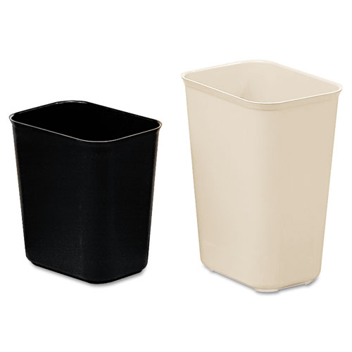 Rubbermaid® Commercial Fire-Resistant Wastebasket, Rectangular, Fiberglass, 3.5 gal, Beige