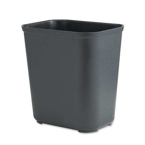 Rubbermaid® Commercial Fire-Resistant Wastebasket, Rectangular, Fiberglass, 7 gal, Black