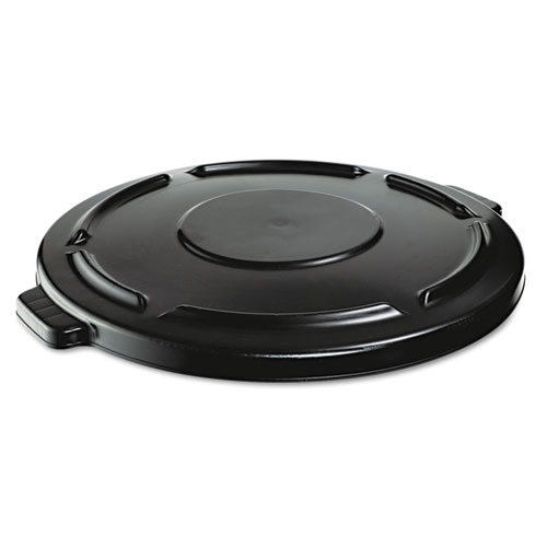 Rubbermaid® Commercial Vented Round BRUTE Lid, 24.5 dia x 1.5h, Black