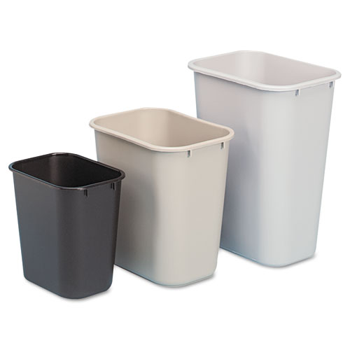 Rubbermaid® Commercial Deskside Plastic Wastebasket, Rectangular, 3.5 gal, Beige