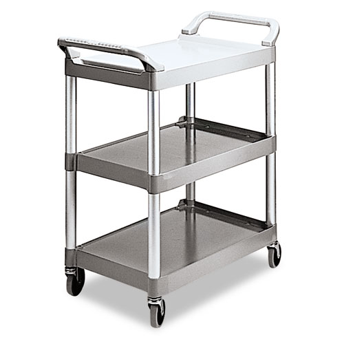 Economy Plastic Cart, Three-Shelf, 18.63w x 33.63d x 37.75h, Platinum