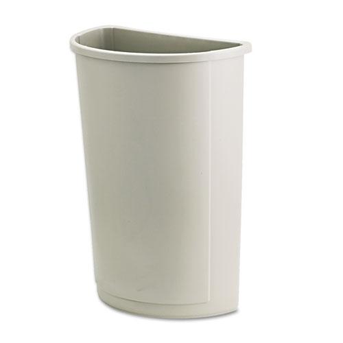 Untouchable Waste Container, Half-Round, Plastic, 21 gal, Beige   by Plexsupply